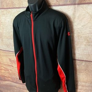 Under armour jacket men's xl black and red